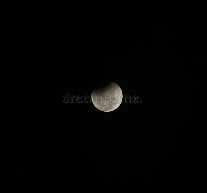 Super full blood moon. On dark sky royalty free stock photos