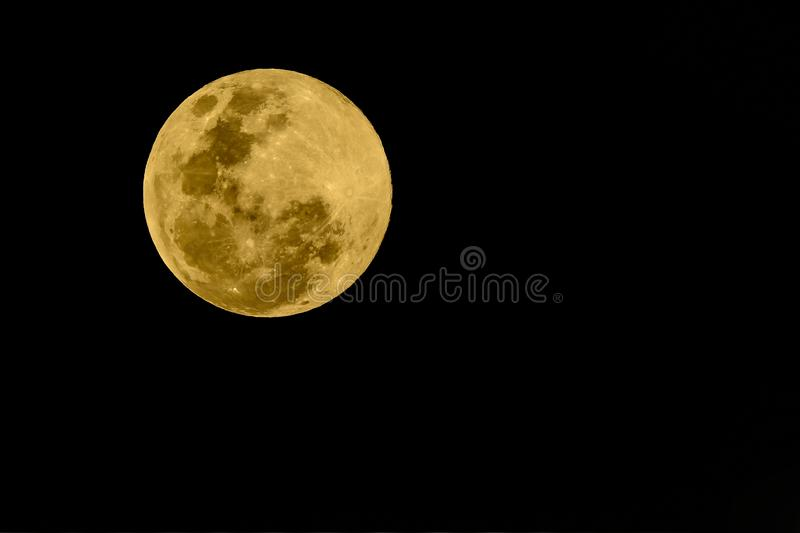 Super full moon, beautiful yellow moon with Black background. stock photography