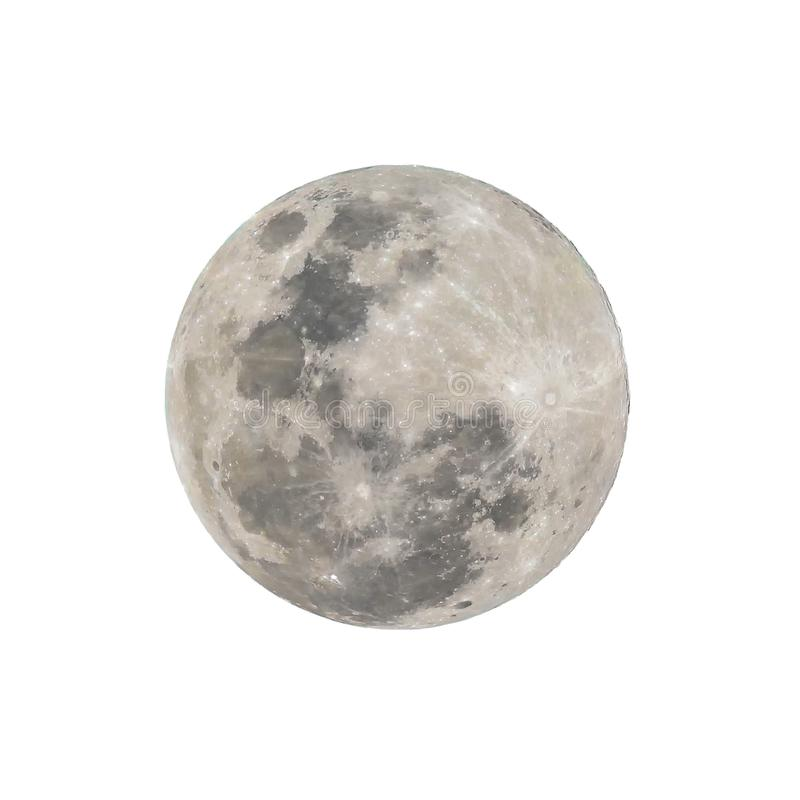 Super full moon isolated with white background, clipping path royalty free stock photography