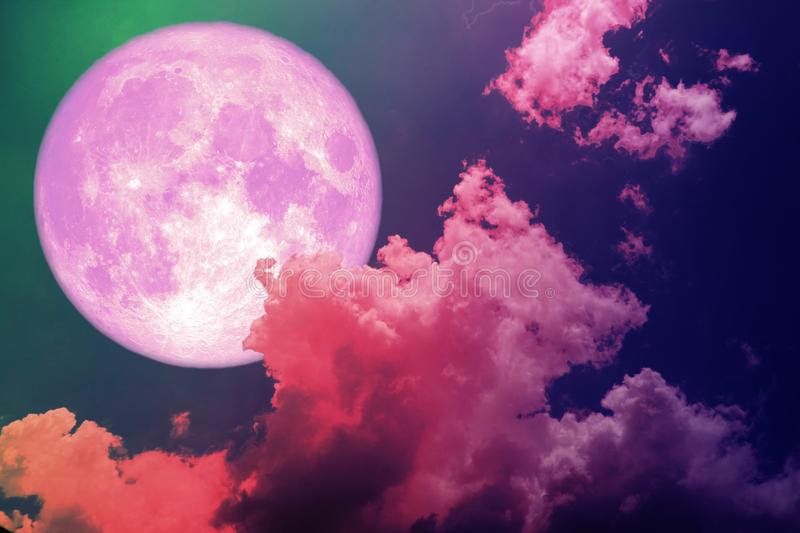 super full pink moon back silhouette colorful magenta sky royalty free stock photography
