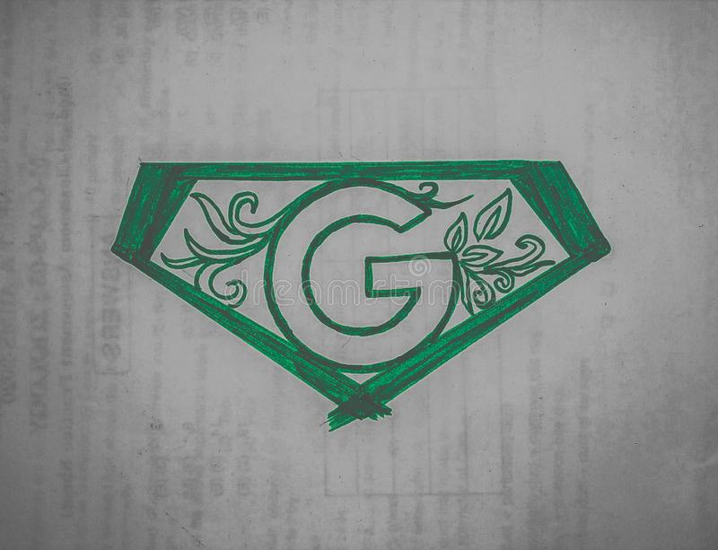 The super G . The symbol represts the power of green that ragulates the whole of earth  , logo for go green . vector illustration