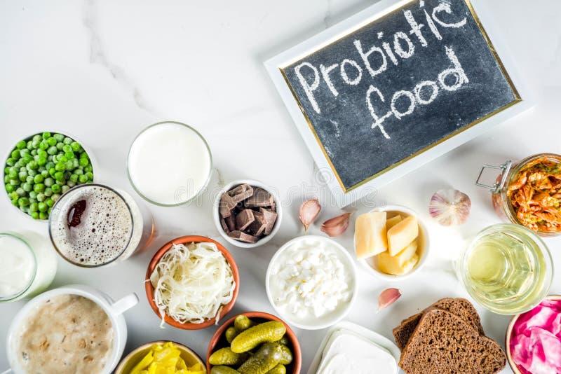 Super gesunde Probiotic gegorene Nahrungsquellen lizenzfreies stockbild