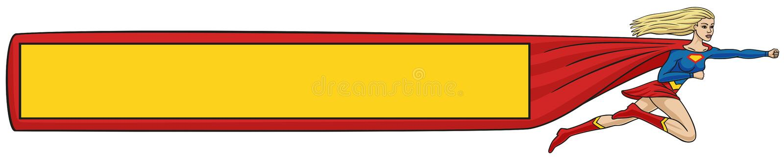 Download Super-girl with banner. stock vector. Illustration of power - 36984823