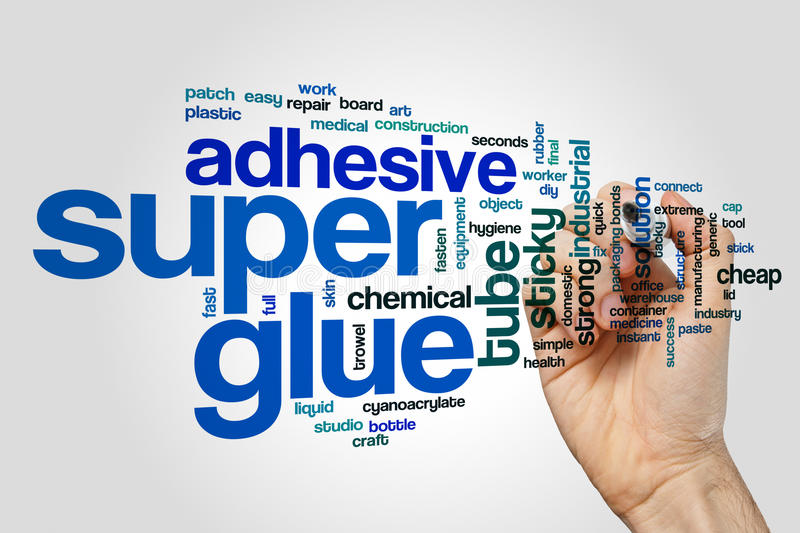Super glue word cloud. Concept on grey background royalty free stock photography