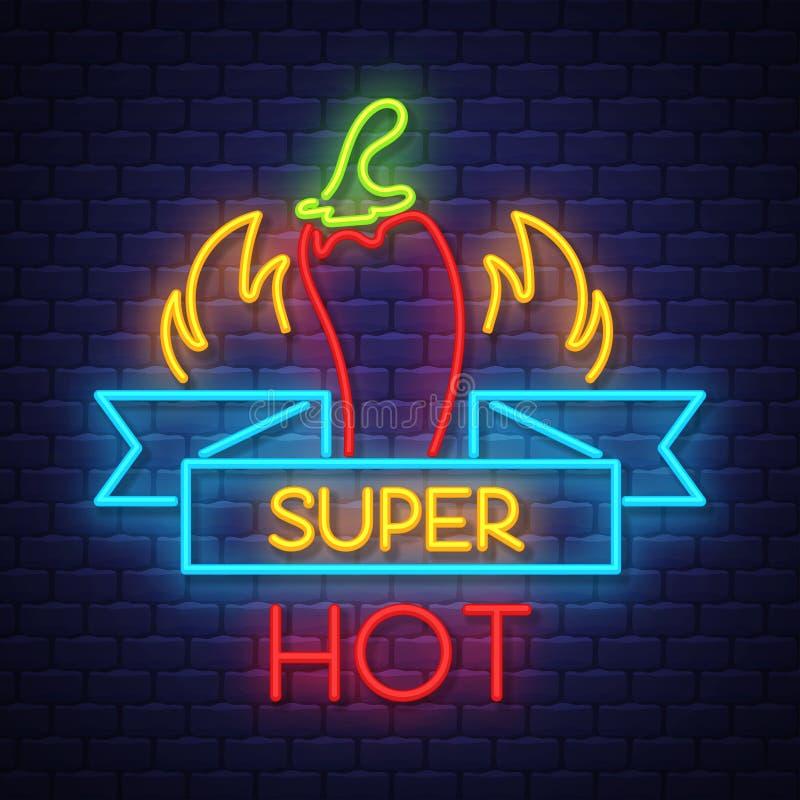 Super gorący pieprzu Neonowego znaka wektor na ściany z cegieł tle ilustracji