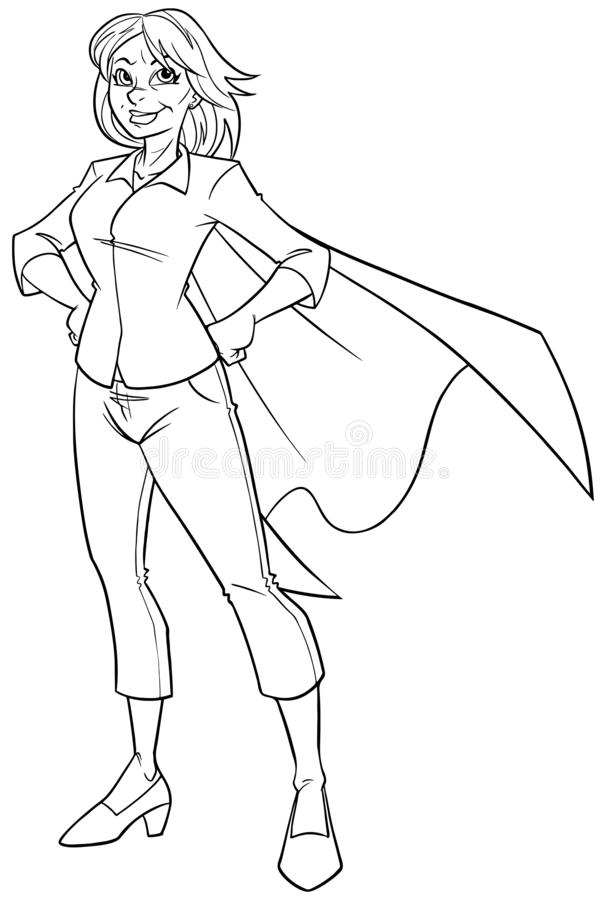 Super Grandma Line Art. Line art full length illustration of super grandmother smiling while posing proud and confident with her cape isolated on white royalty free illustration
