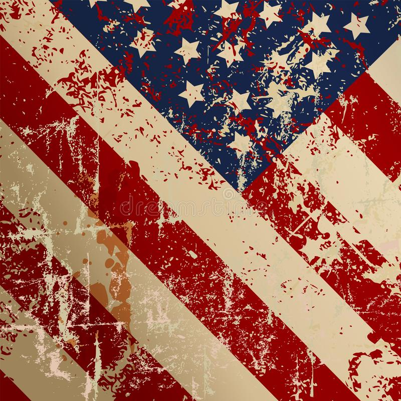 Super grunge distressed USA flag, vector illustration. Stars and stripes isolated on white royalty free illustration