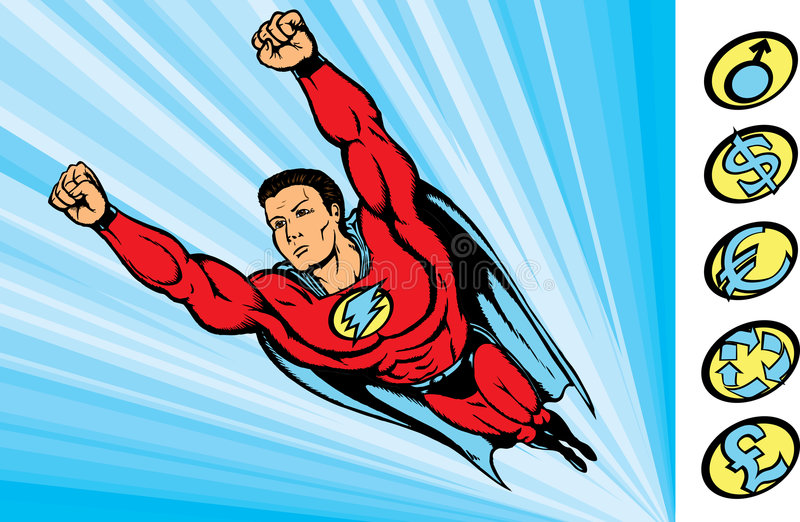 Super guy fying into action royalty free stock image