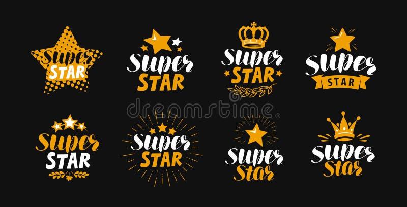 Super gwiazda, set etykietki lub logo, Literowanie wektoru ilustracja royalty ilustracja