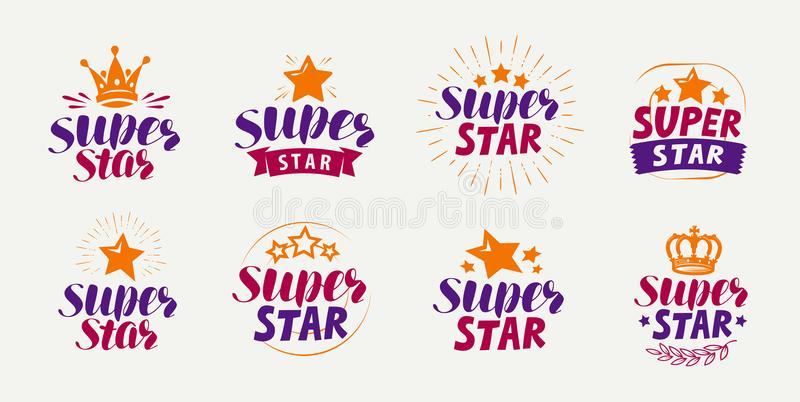 Super gwiazda, set logowie lub etykietki, Popularność, sława symbol Literowanie wektor ilustracji