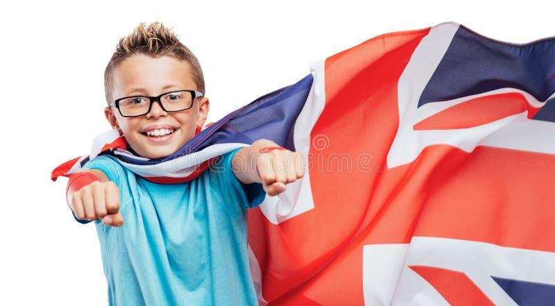 Super héroe británico sonriente imagenes de archivo