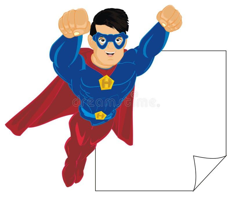 Super héroe con el papel limpio stock de ilustración