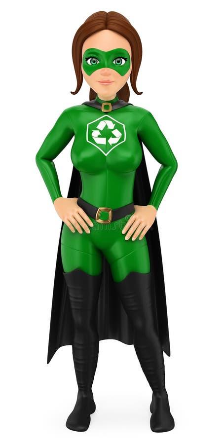 super héroe de la mujer 3D del reciclaje que se coloca con las manos en la cintura ilustración del vector