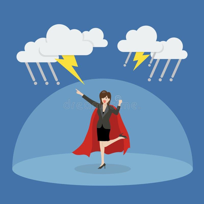 Super héroe de la mujer de negocios con la barrera que protege contra thundersto libre illustration