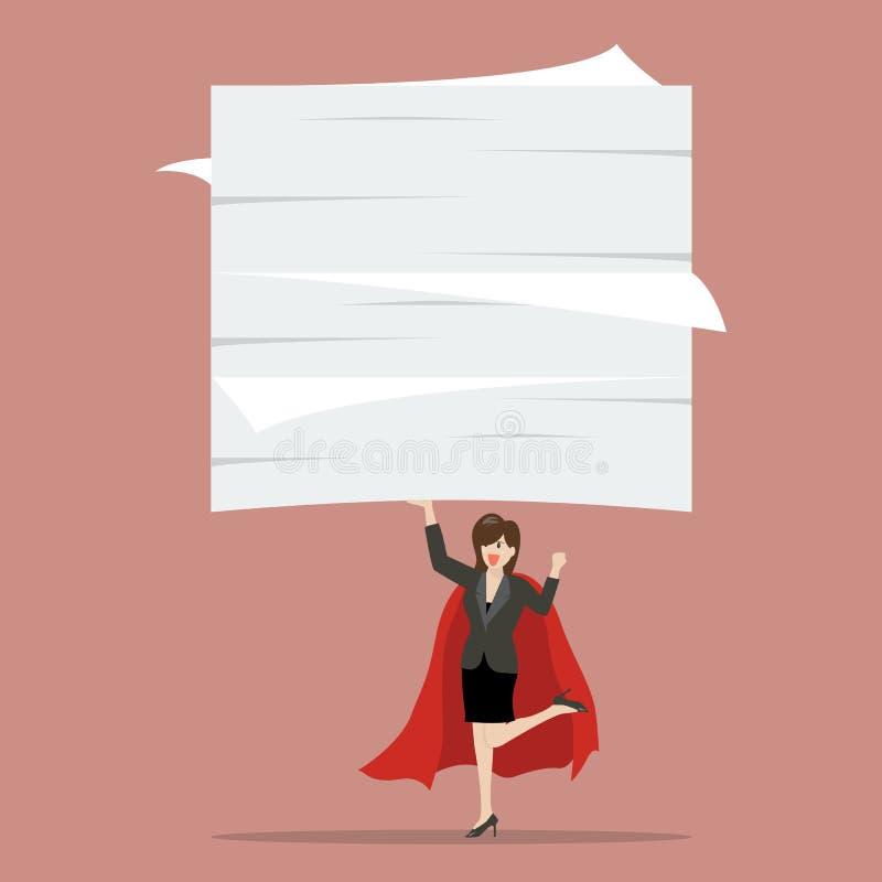 Super héroe de la mujer de negocios que levanta muchos documentos libre illustration