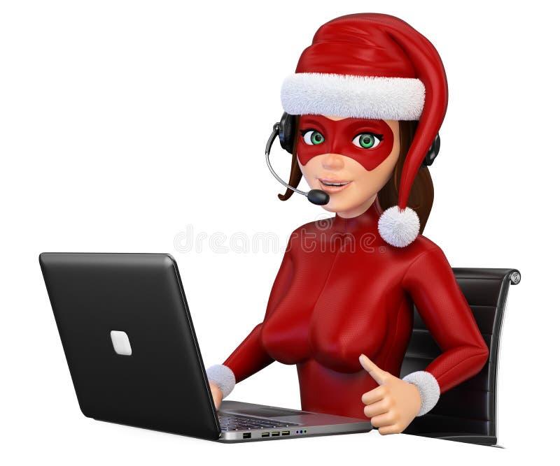 super héroe de la Navidad de la mujer 3D con los auriculares y el ordenador portátil libre illustration