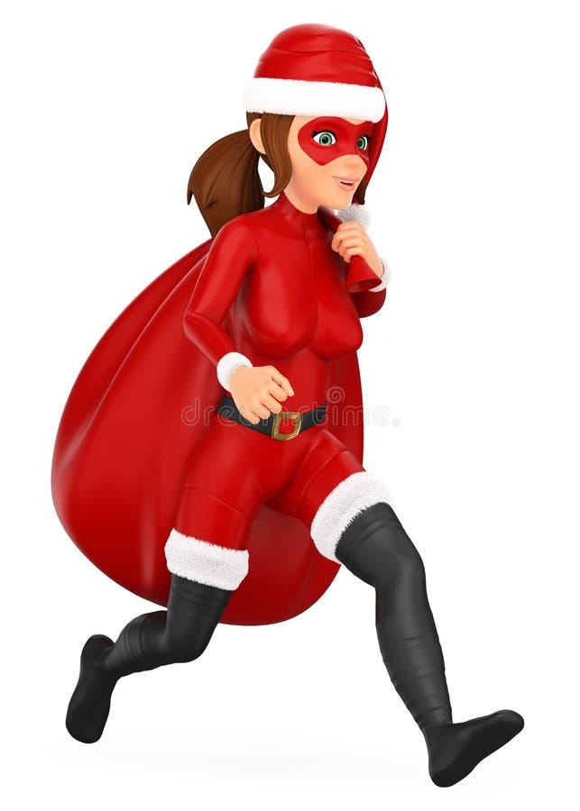 super héroe de la Navidad de la mujer 3D que corre con un saco de regalos libre illustration