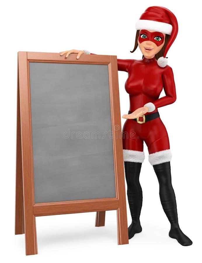 super héroe de la Navidad de la mujer 3D que se coloca con una pizarra en blanco libre illustration