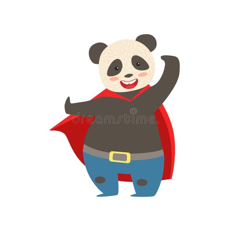 Super héroe de Panda Bear Animal Dressed As con un carácter enmascarado cómico del vigilante del cabo stock de ilustración