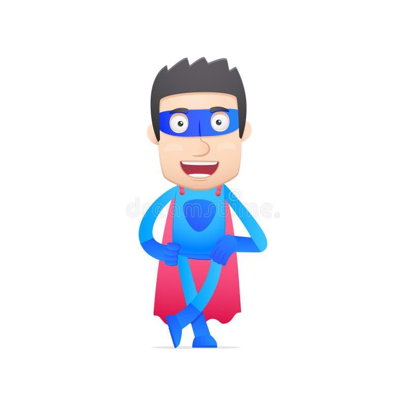 Super héroe en diversas actitudes stock de ilustración