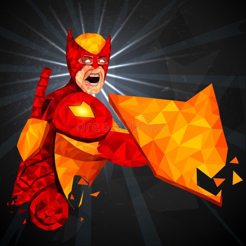 Super héroe en estilo polivinílico bajo abstracto del polígono ilustración del vector