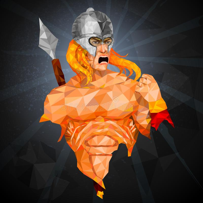 Super héroe en estilo polivinílico bajo abstracto del polígono stock de ilustración