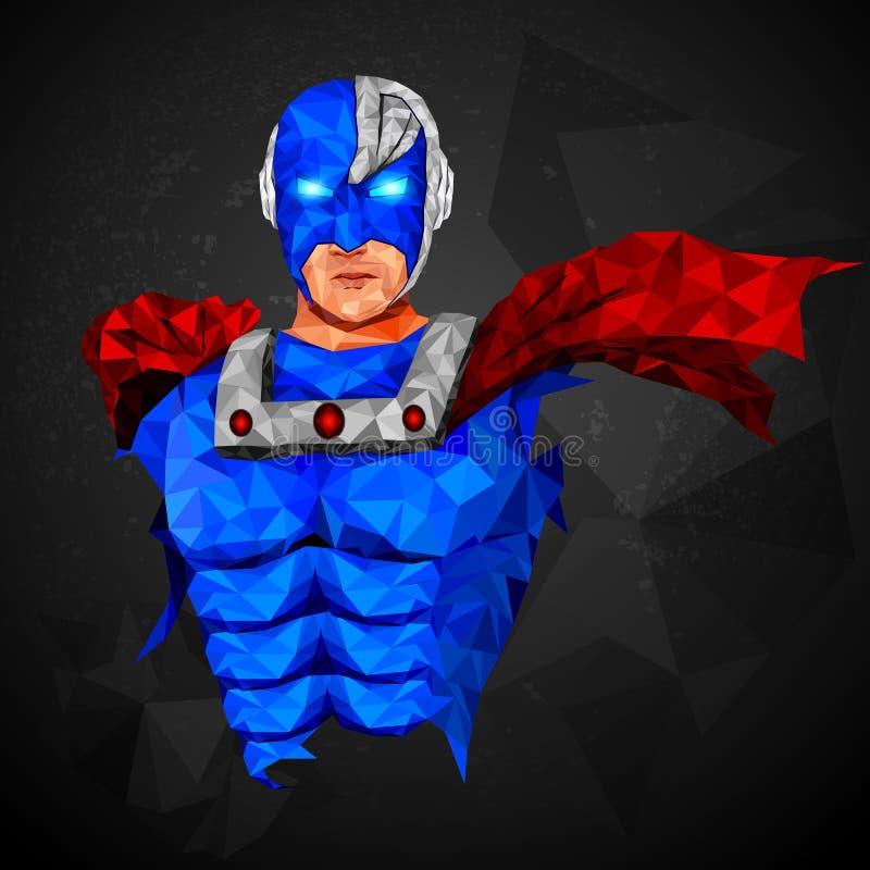 Super héroe en estilo polivinílico bajo abstracto del polígono libre illustration