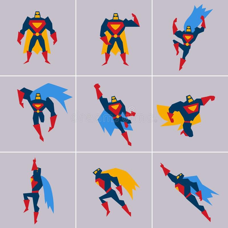 Super héroe en la acción Diversas actitudes de la silueta stock de ilustración