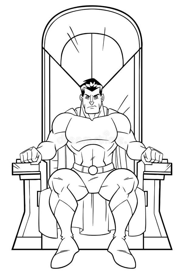 Super héroe en la línea arte del trono libre illustration