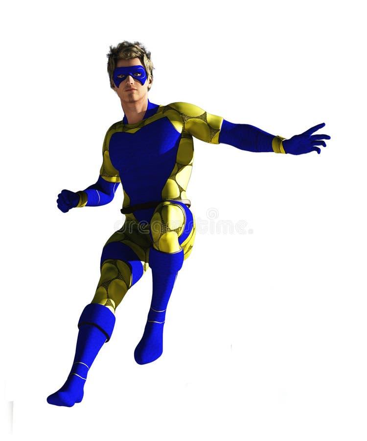 Super héroe enmascarado en vuelo ilustración del vector