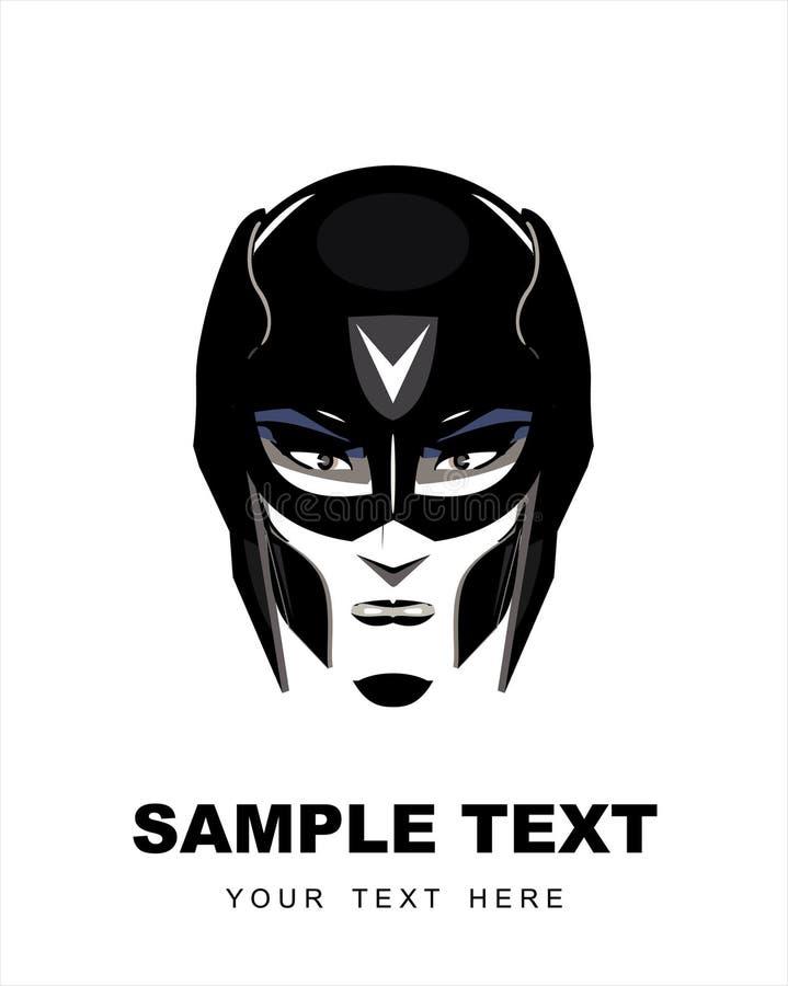 Super héroe femenino con la máscara negra ilustración del vector