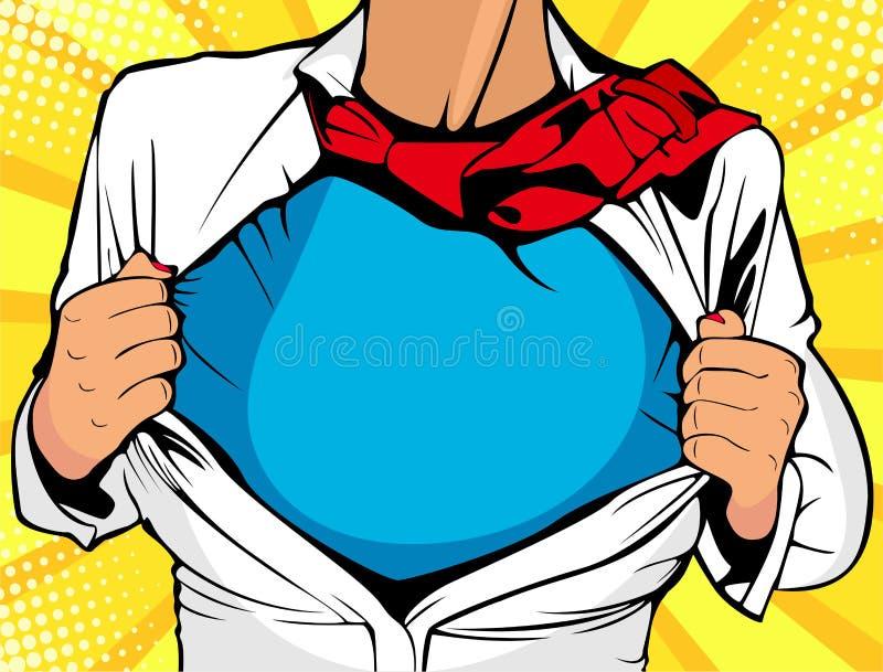 Super héroe femenino La mujer atractiva joven se vistió en la camiseta blanca del super héroe de las demostraciones de la chaquet stock de ilustración