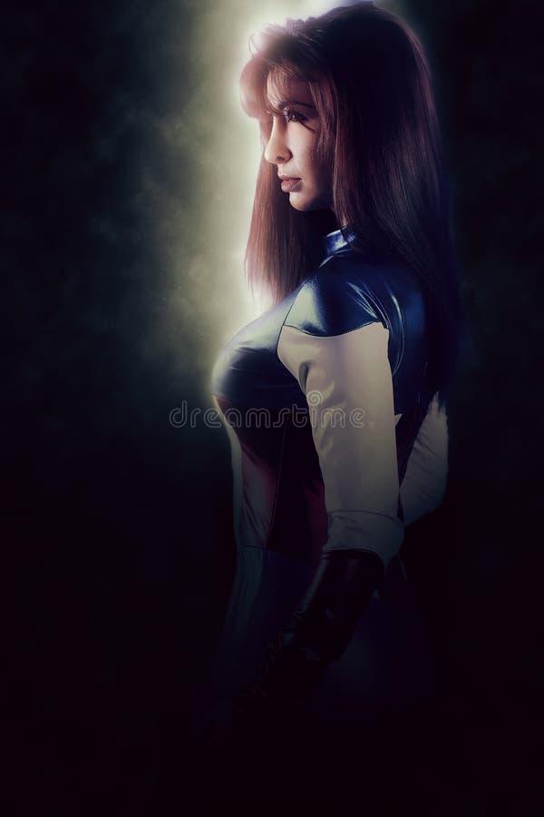 Super héroe hermoso de la mujer imagenes de archivo