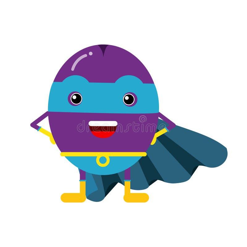 Super héroe lindo del ciruelo de la historieta en la máscara y el cabo azul, ejemplo humanizado colorido del carácter de la fruta libre illustration