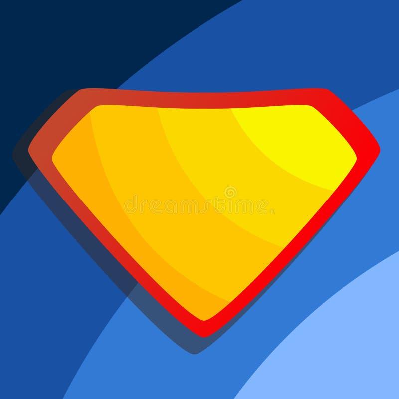 Super héroe Logo Vector Escudo amarillo, rojo Plantilla del emblema Ejemplo cómico de la historieta plana ilustración del vector
