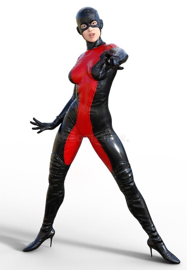 Super héroe modelo estupendo femenino stock de ilustración