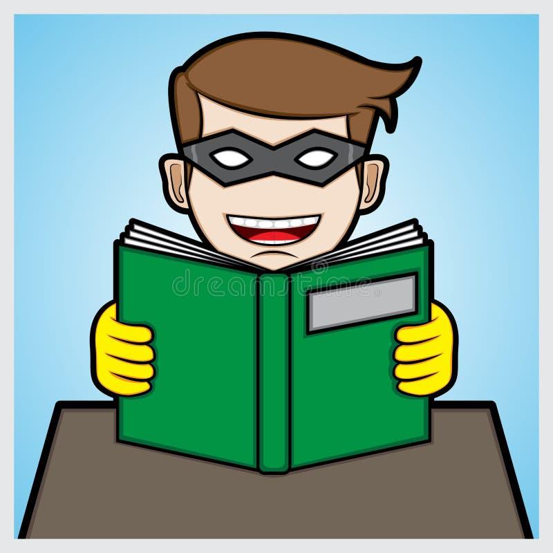 Super héroe que lee un libro ilustración del vector