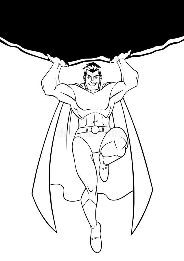 Super héroe que lleva a cabo la línea arte de Boulder stock de ilustración