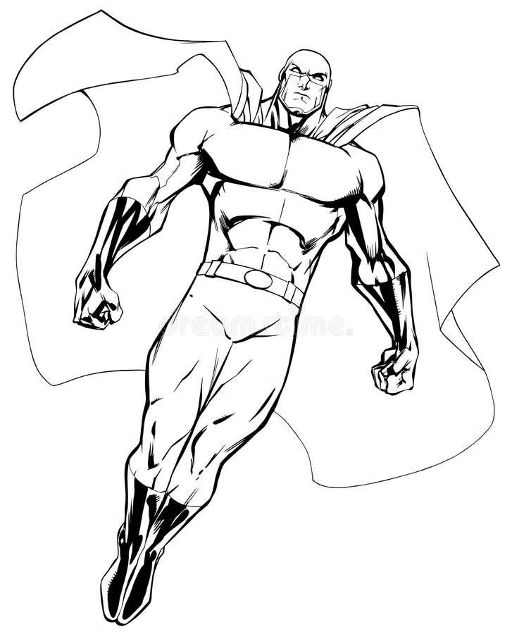 Super héroe que vuela 6 la línea arte libre illustration