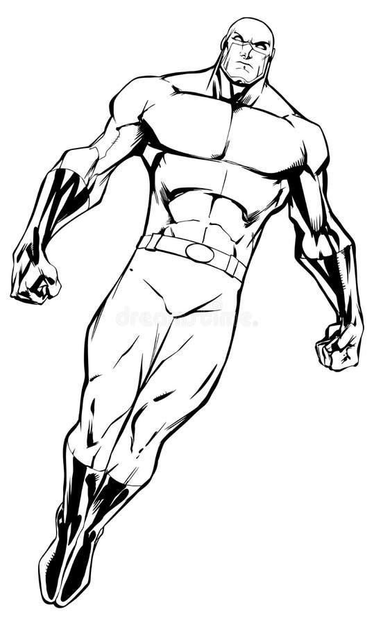 Super héroe que vuela 7 la línea arte libre illustration