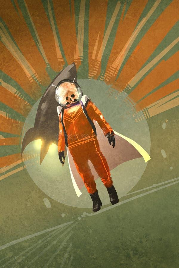 Super héroe sobre fondo del grunge con estilo del vintage stock de ilustración
