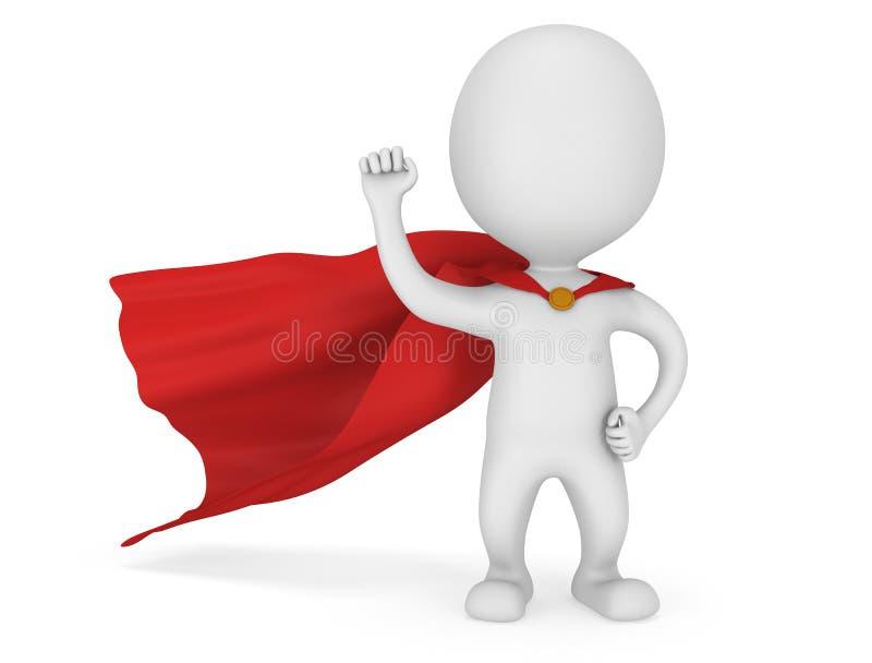 super héroe valiente del hombre 3d con la capa roja ilustración del vector