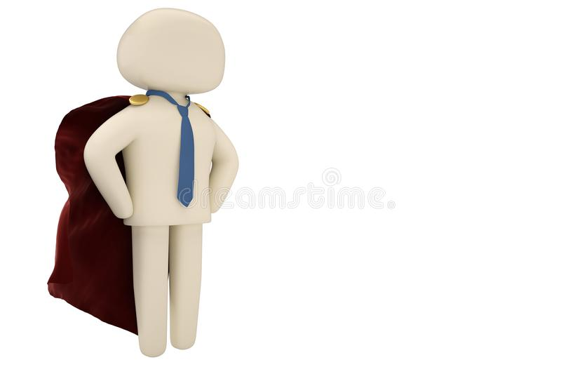 Super héroe valiente del hombre de negocios con la capa roja aislada en blanco 3d stock de ilustración