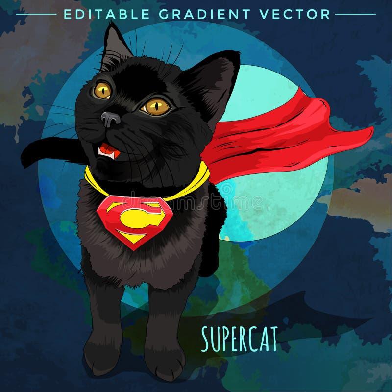 Super héroes de los gatos Supercat stock de ilustración