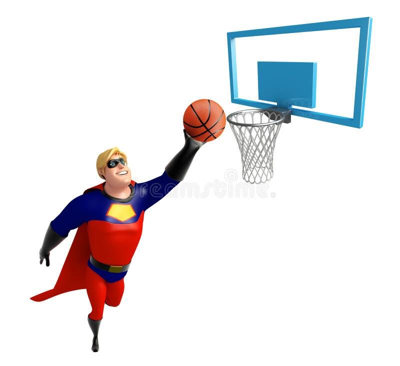 Super héros avec le basket-ball et le panier illustration de vecteur