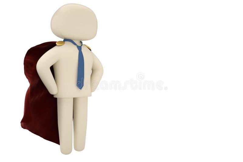 Super héros courageux d'homme d'affaires avec le manteau rouge d'isolement sur le blanc 3d illustration stock