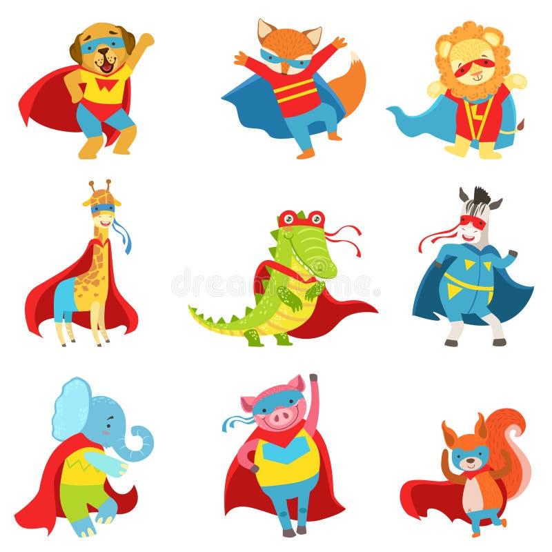 Super héros d'animaux avec des caps et masques réglés illustration de vecteur