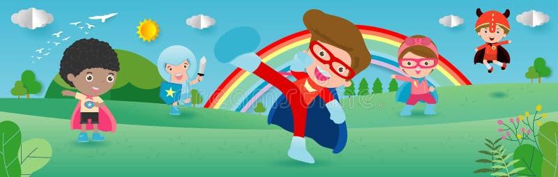 Super héros d'enfant utilisant les costumes de bandes dessinées, enfant avec l'ensemble de costumes de superhéros, petits enfants illustration de vecteur