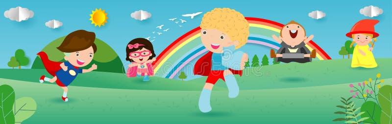 Super héros d'enfant utilisant les costumes de bandes dessinées, enfant avec l'ensemble de costumes de superhéros, petits enfants illustration libre de droits