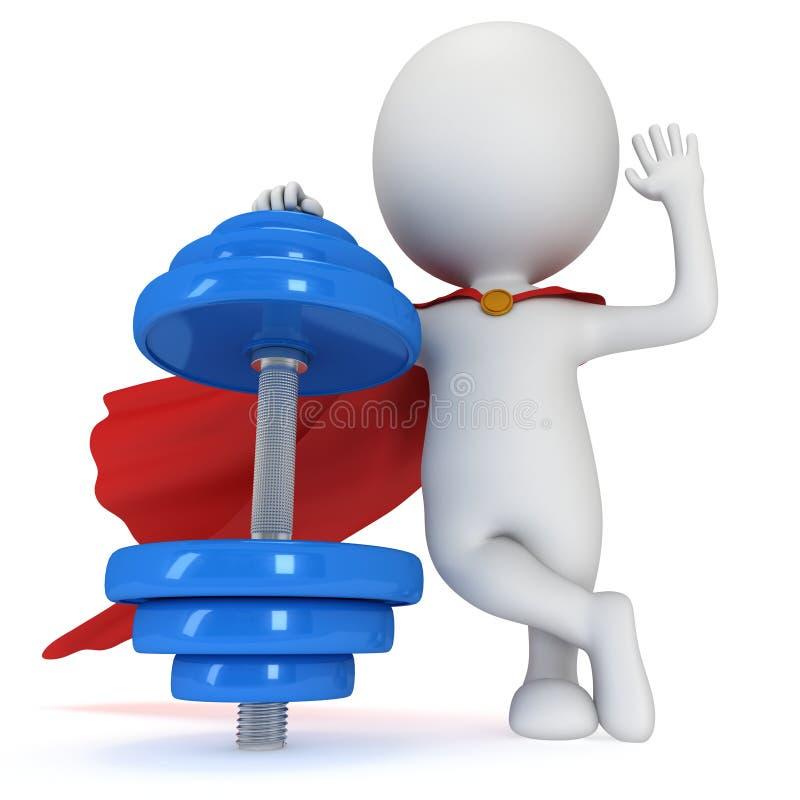 super héros 3d présent l'haltère rouge illustration de vecteur